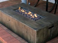 Foundry Select Arndt Rustic Faux Wood Concrete Propane Gas Fire Pit in Outdoor Propane Fire Pit