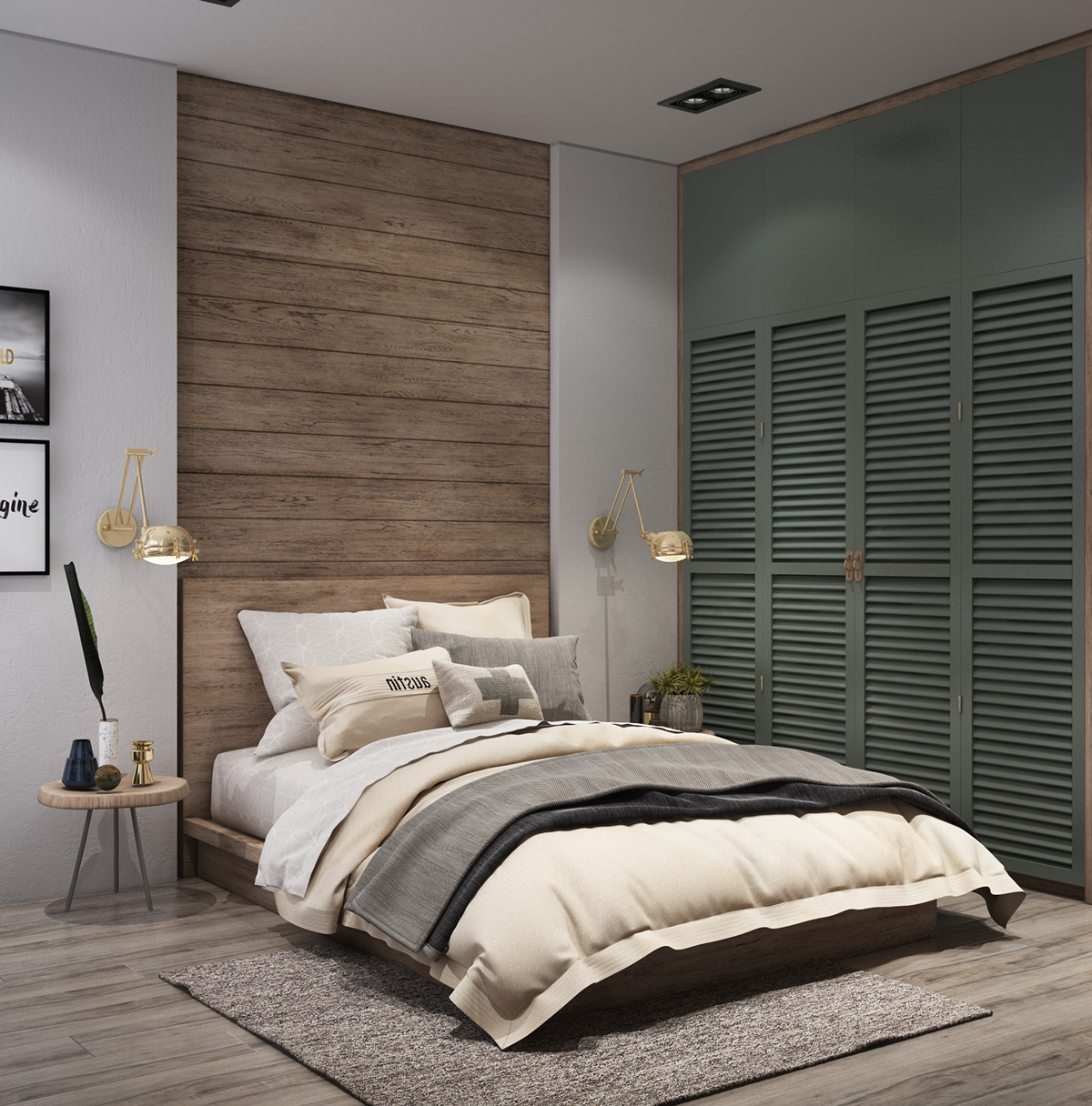 green-and-natural-bedroom