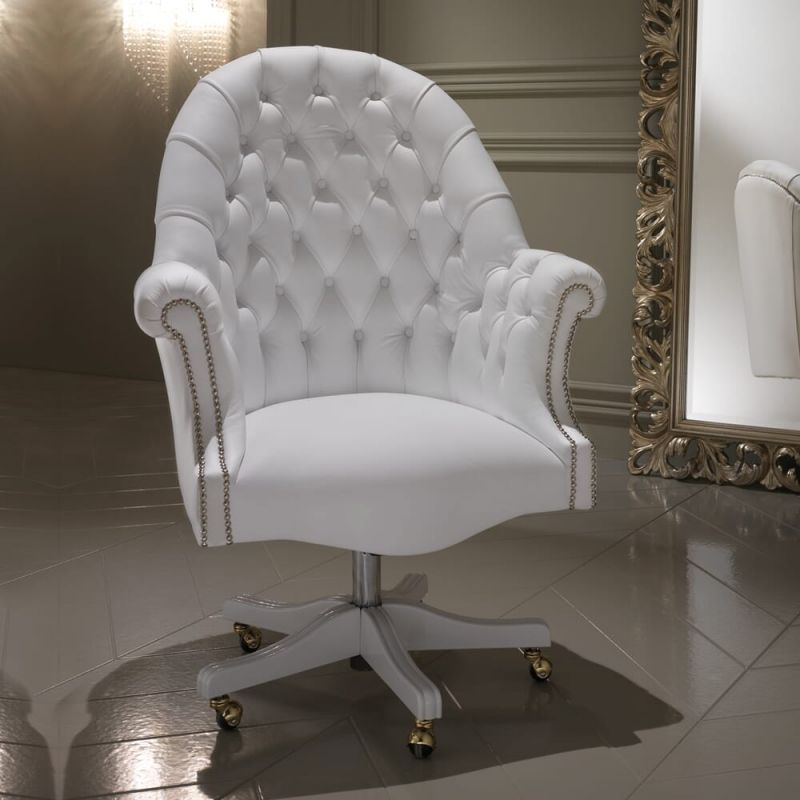 Luxury Italian White Leather Executive Office Chair | Juliettes regarding White Leather Office Chair