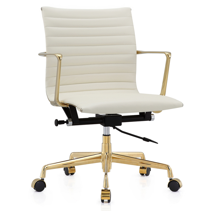 Marquis Gold White Leather Modern Office Chair | Eurway with Elegant White Leather Office Chair
