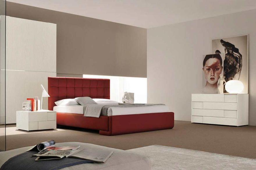 Modern Italian Red Eco-Leather Bed Vg Luxury | Modern Bedroom for Italian Modern Bedroom Furniture