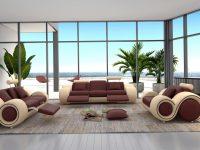 Orren Ellis Behr 3 Piece Leather Living Room Set & Reviews   Wayfair intended for Living Room Furniture Sets