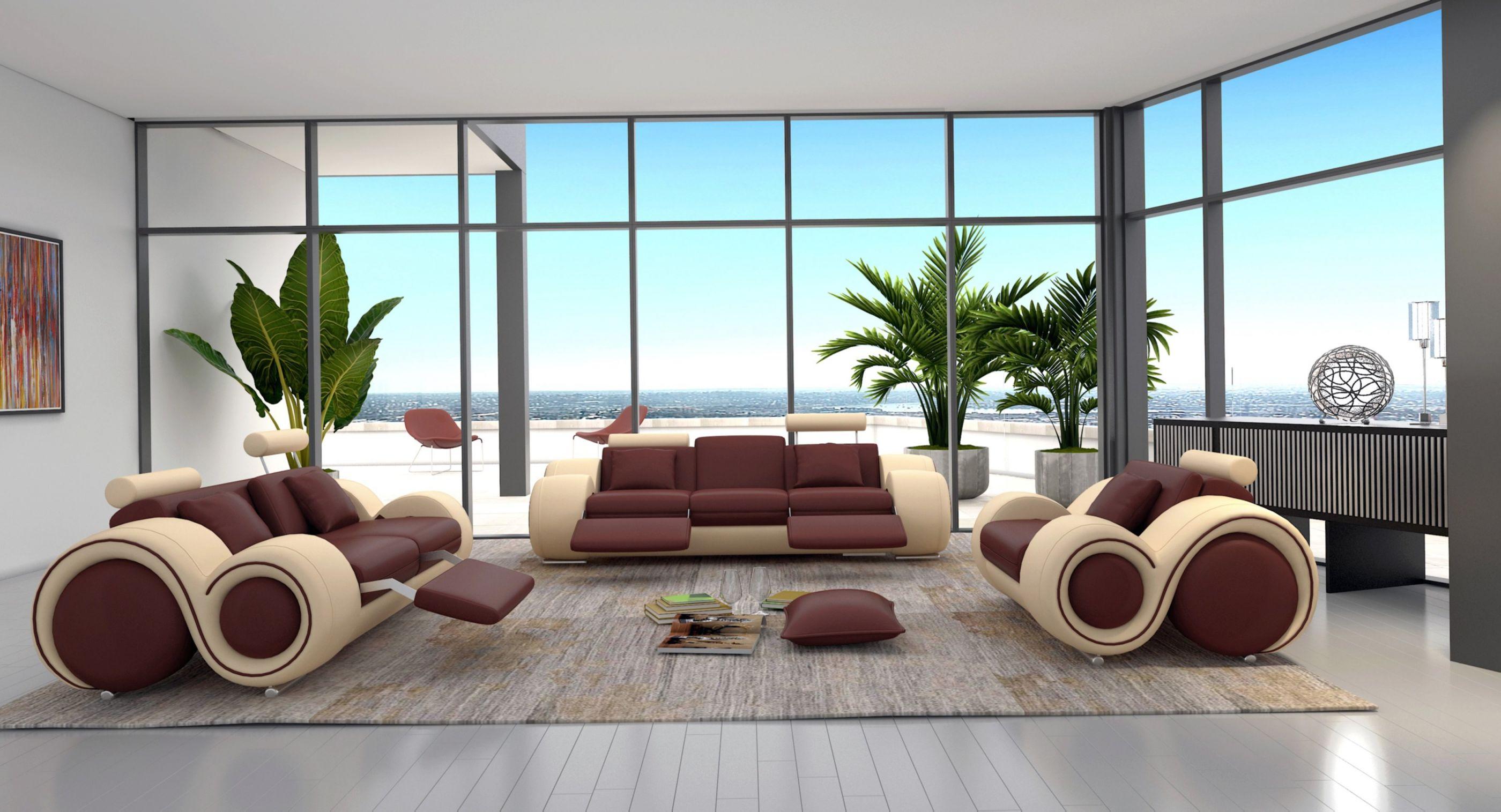 Orren Ellis Behr 3 Piece Leather Living Room Set & Reviews | Wayfair intended for Living Room Furniture Sets