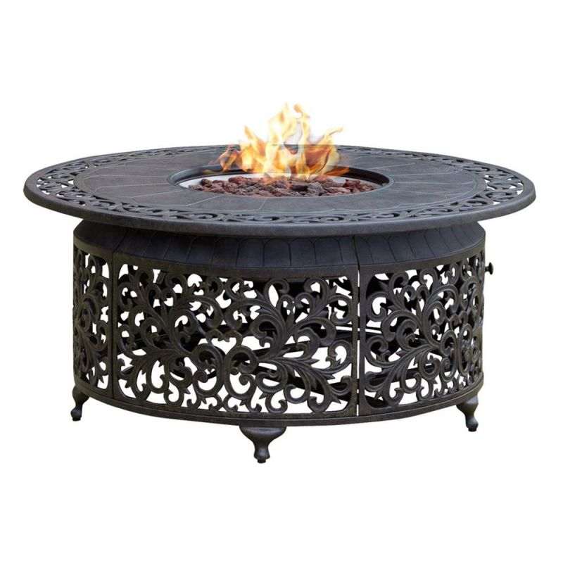 Paramount Round Outdoor Propane Fire Pit Table | Lowe's Canada intended for Outdoor Propane Fire Pit