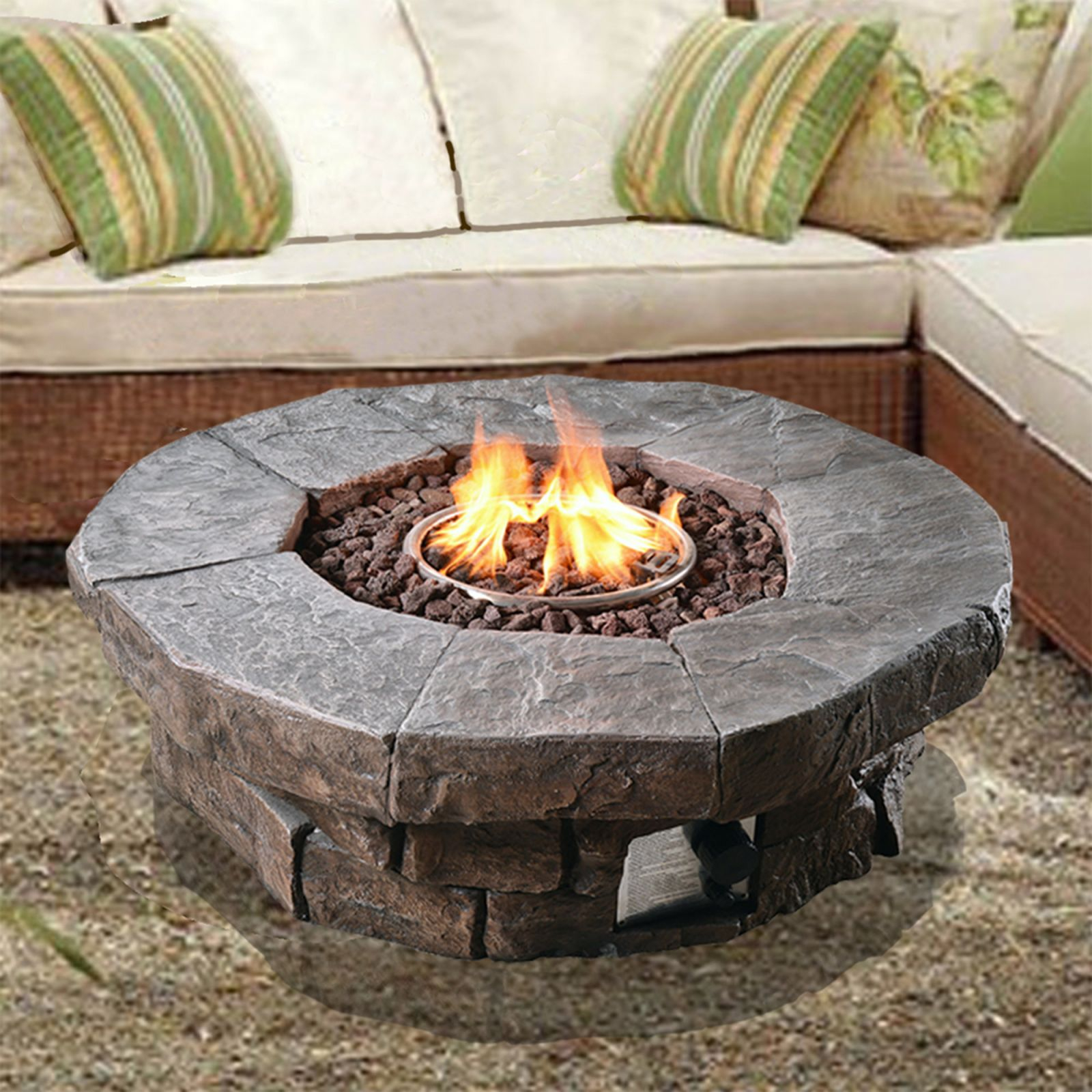 Peaktop Outdoor Polyresin Propane Gas Fire Pit & Reviews   Wayfair inside Outdoor Propane Fire Pit