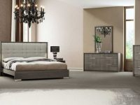 Peoria Contemporary Bedroom Set In Grey Lacquer & Taupe | Get.furniture within Elegant Contemporary Bedroom Sets