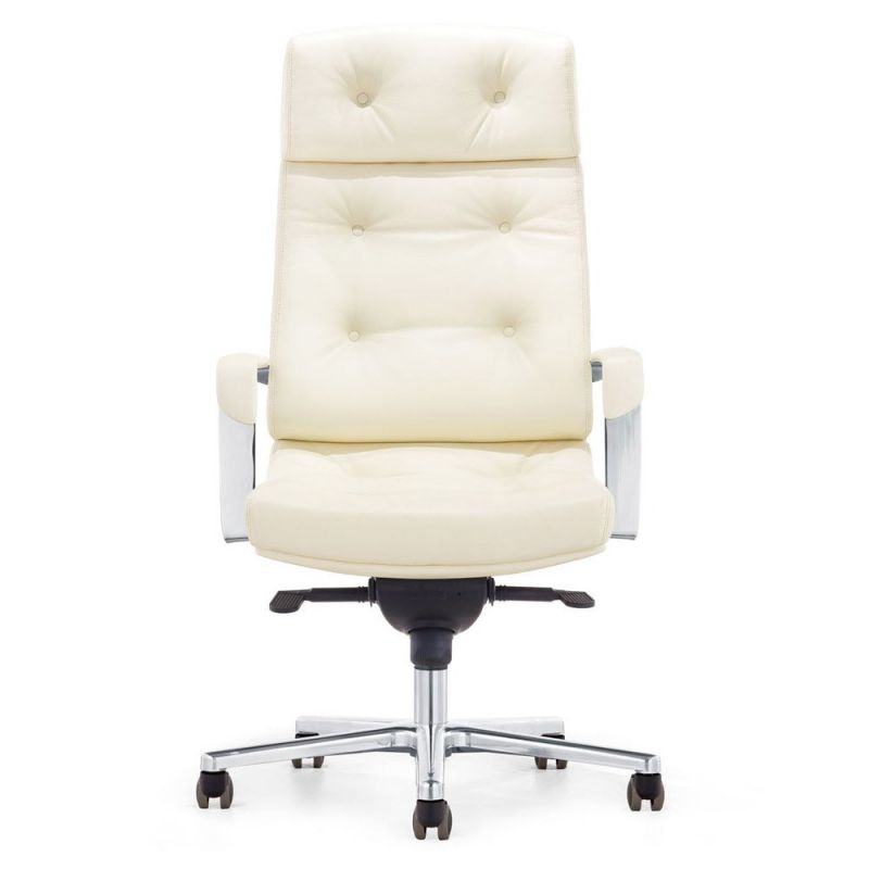 Perot Genuine Leather Aluminum Base High Back Executive Chair | Zuri throughout Elegant White Leather Office Chair