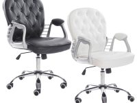 Premium Retro Office Chair Black Or White Leather Armchair Gas Lift regarding Elegant White Leather Office Chair