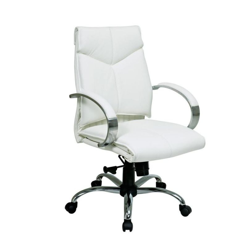 Pro-Line Ii White Leather Mid Back Executive Office Chair 7271 - The intended for White Leather Office Chair