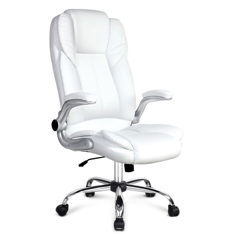 Pu Leather Executive Office Desk Chair – White intended for Elegant White Leather Office Chair