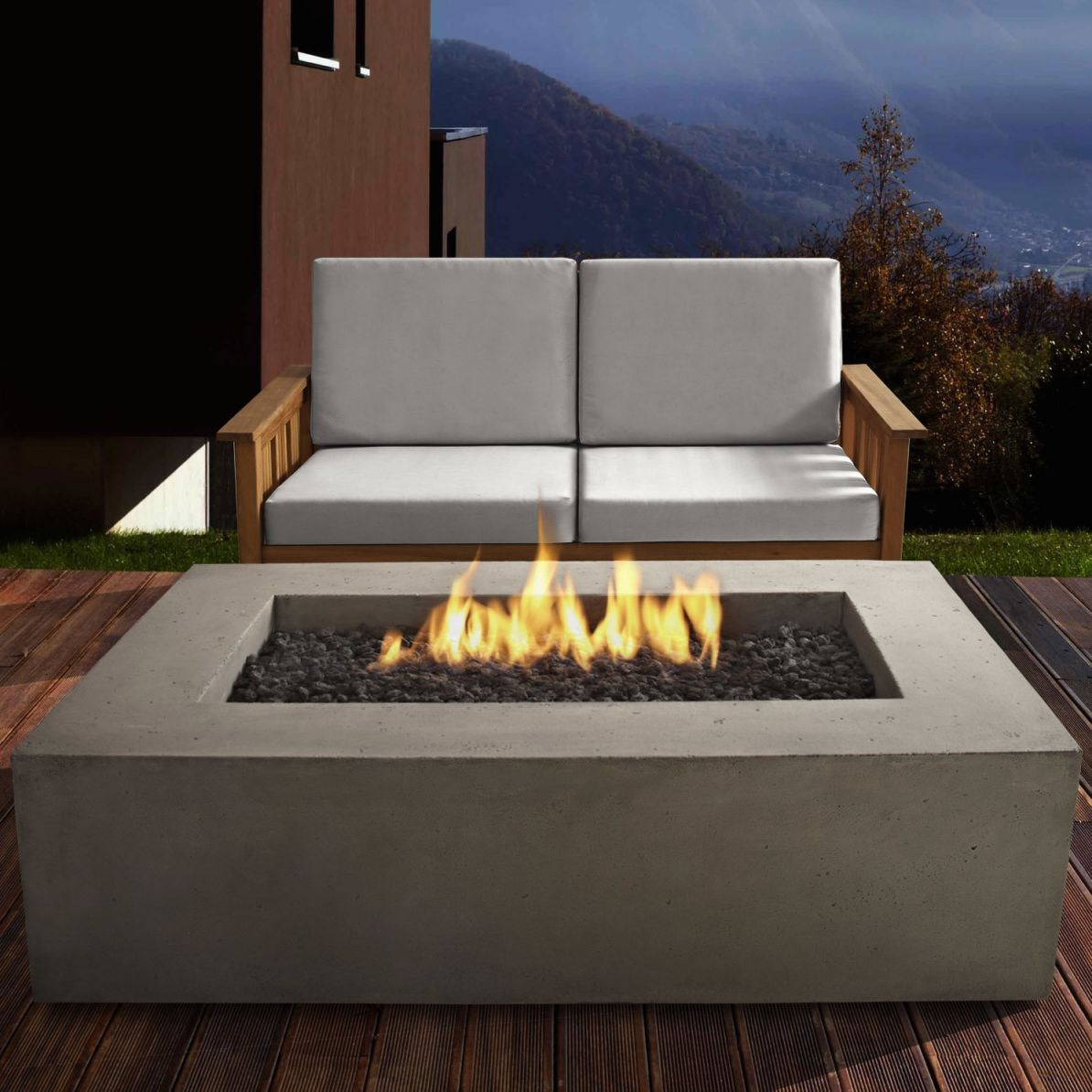 Real Flame Baltic Concrete Propane Fire Pit Table & Reviews | Wayfair with Outdoor Propane Fire Pit