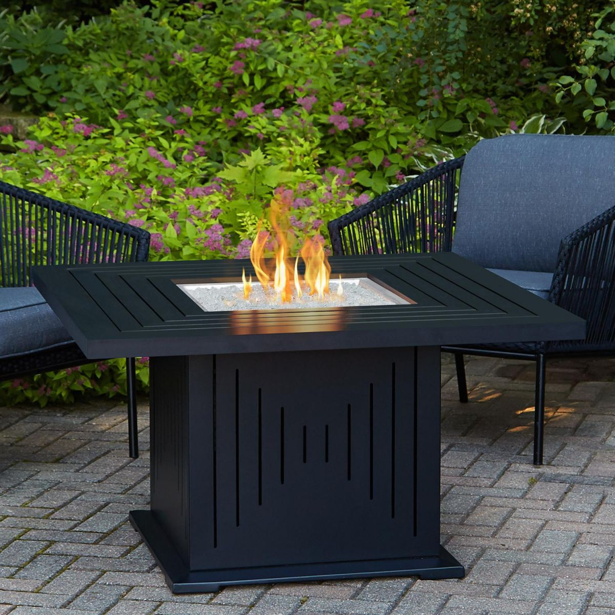 Real Flame Cavalier 43-Inch Square Propane Fire Pit Table – Black inside Lovely Outdoor Propane Fire Pit