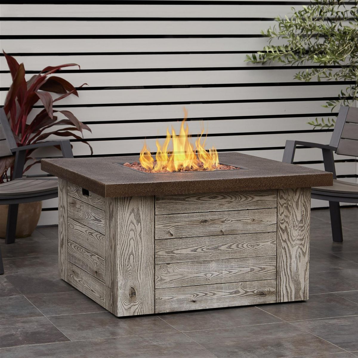 Real Flame Forest Ridge 42-Inch Square Propane Fire Pit Table with Lovely Outdoor Propane Fire Pit