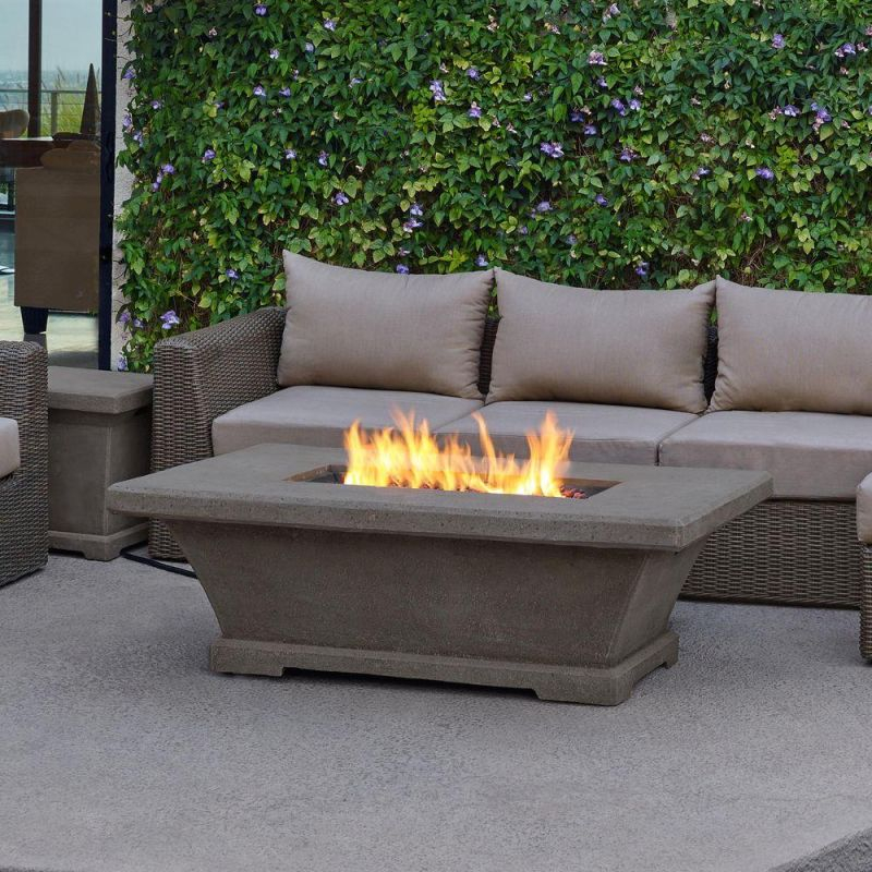 Real Flame Monaco 55 In. Fiber-Concret Rectangle Propane Gas Fire regarding Outdoor Propane Fire Pit
