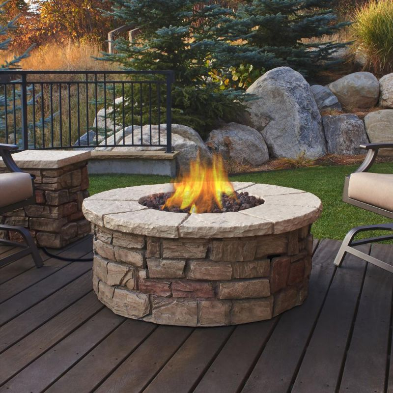 Real Flame Sedona 43 In. X 17 In. Round Fiber-Concrete Propane Fire throughout Outdoor Propane Fire Pit