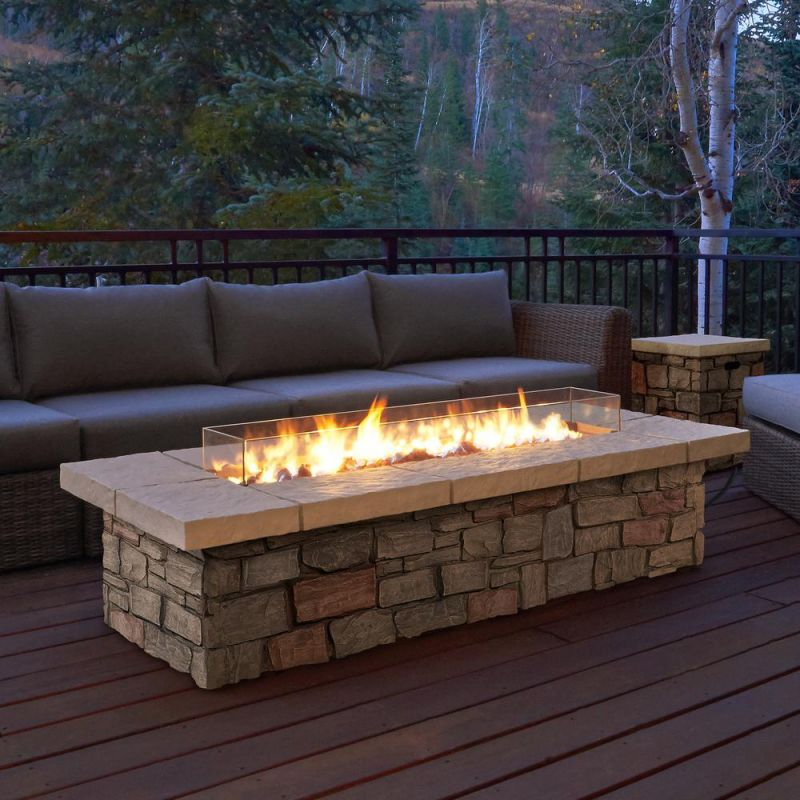 Real Flame Sedona 66 In. X 19 In. Rectangle Fiber-Concrete Propane with regard to Lovely Outdoor Propane Fire Pit