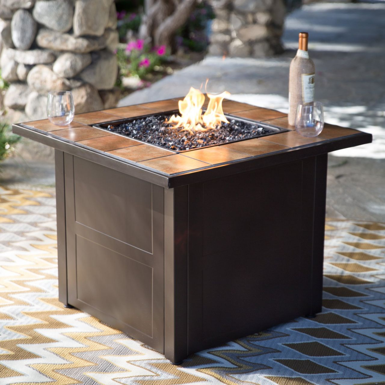 Red Ember Desert Sand 32 In. Square Propane Fire Pit Table – Walmart throughout Lovely Outdoor Propane Fire Pit
