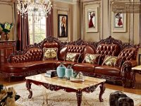 Red Solid Wood Genuine Leather Corner Sofa Set / L Shape Sofa Set with regard to Unique Living Room Furniture Sets