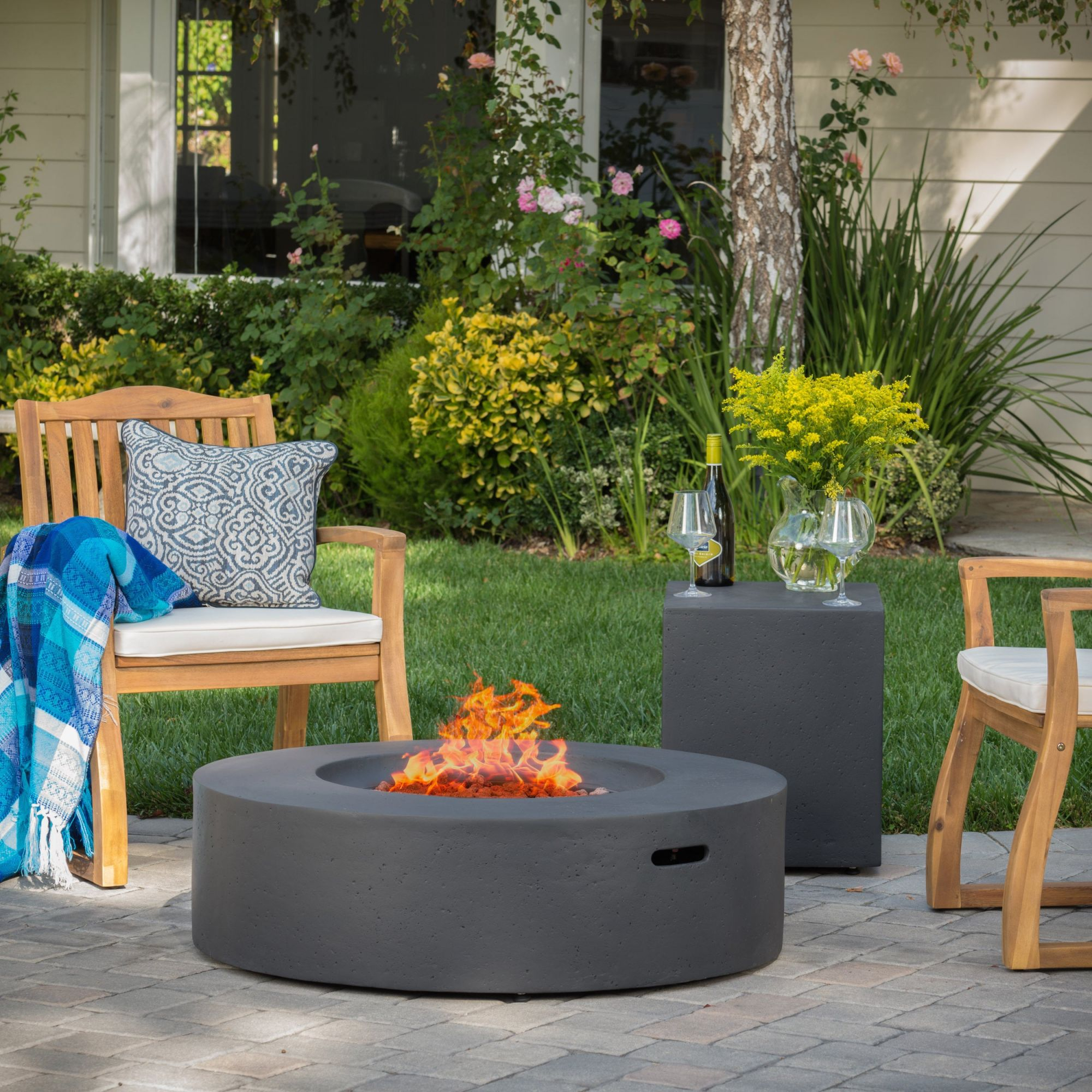 Santos Outdoor Circular Propane Fire Pit Table With Tank Holder intended for Lovely Outdoor Propane Fire Pit