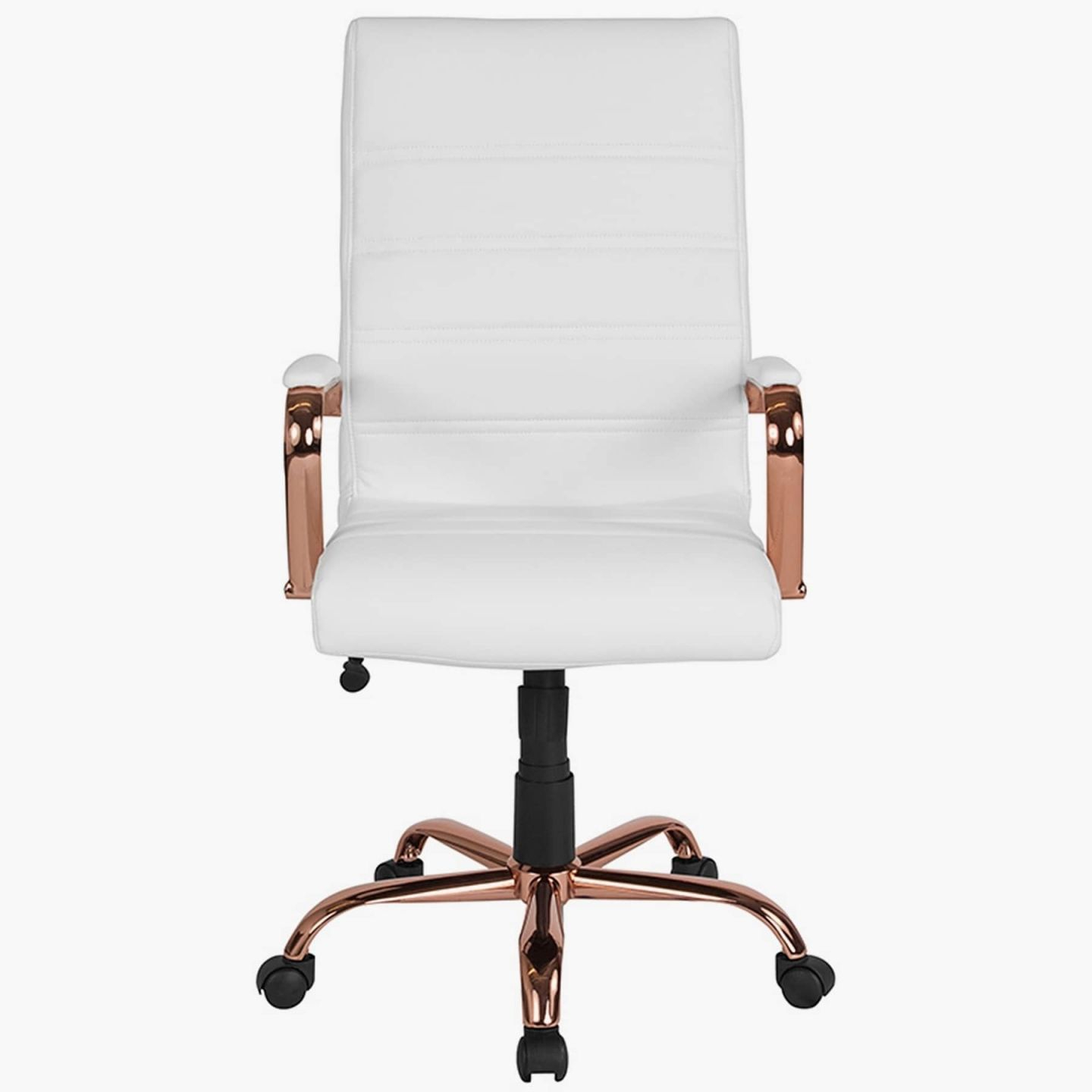 Shop Galaxy High Back Horizontal Stitching White Leather Executive in White Leather Office Chair