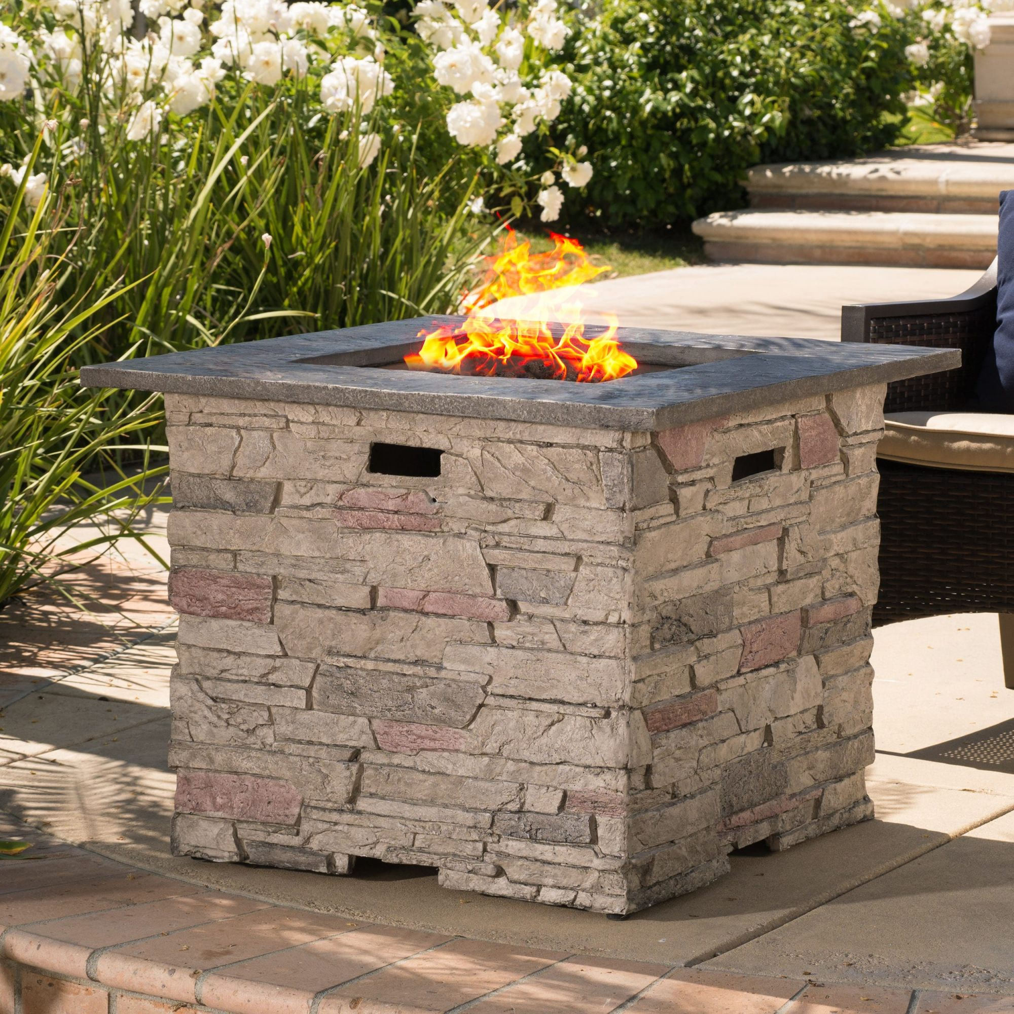Shop Hoonah 32-Inch Outdoor Square Liquid Propane Fire Pit With Lava regarding Lovely Outdoor Propane Fire Pit
