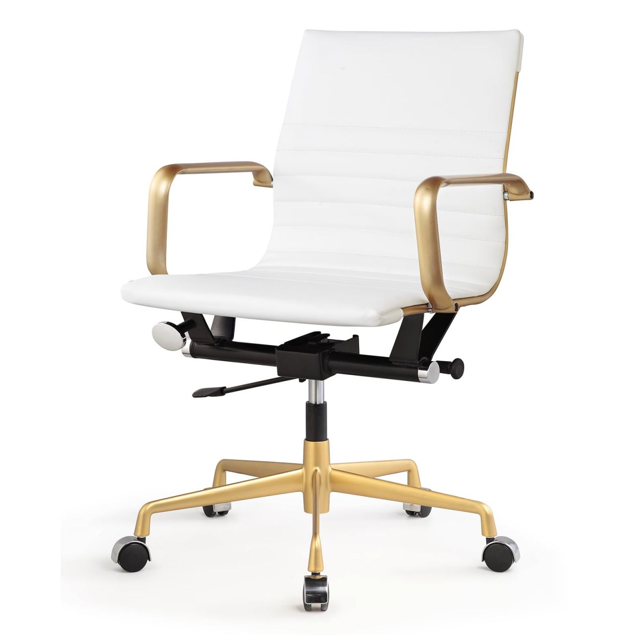 Shop M348 Vegan Leather Office Chair Gold/white – Free Shipping with regard to White Leather Office Chair