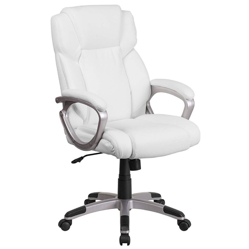 Silla Oficina Mid-Back White Leather Executive Swivel Chair pertaining to White Leather Office Chair