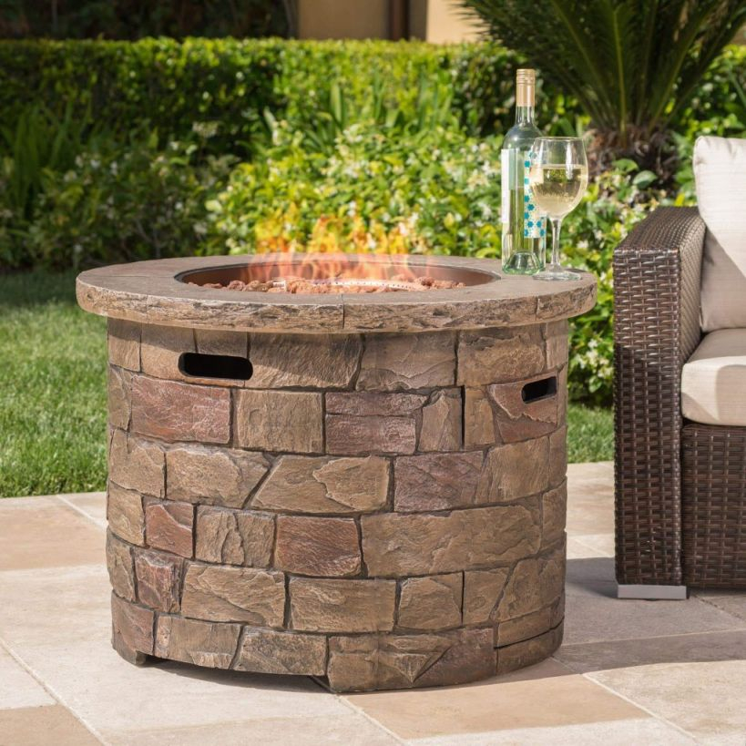 Stillwater Outdoor Natural Stone Propane Fire Pit W/lava Rocks pertaining to Outdoor Propane Fire Pit