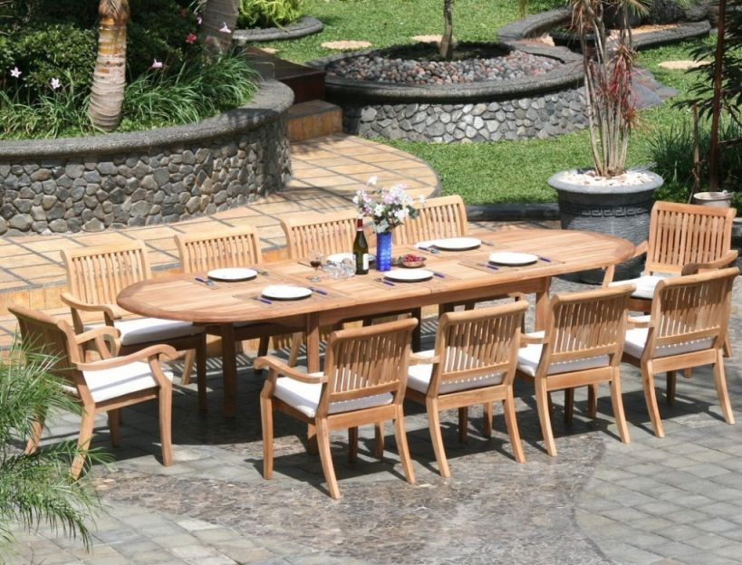 11 Piece Grade-A Teak Dining Set - Large Oval Table And Stacking Arm throughout Beautiful Teak Outdoor Furniture Set