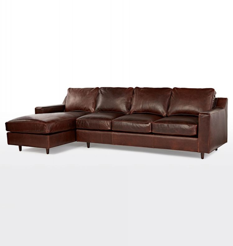 """114"""" Garrison Chaise Sectional Leather Sofa 
