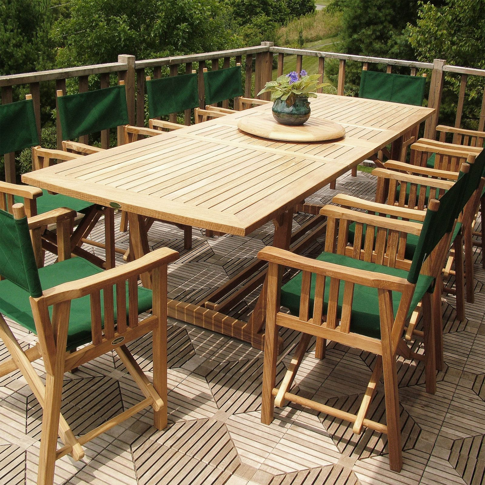 11Pc Director Chair Dining Set with Teak Outdoor Furniture Set