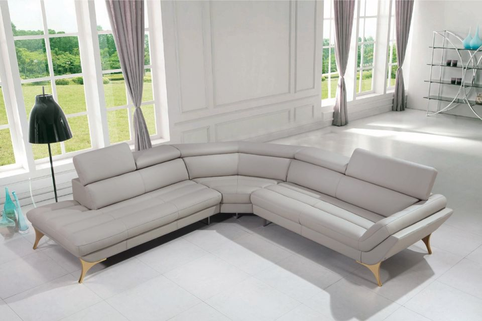 1541 Modern Grey Leather Sectional Sofa with regard to Leather Sectional Modern