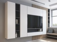 2 Modern Apartments Under 1200 Square Feet Area For Young Families within Modern Living Room Tv Wall