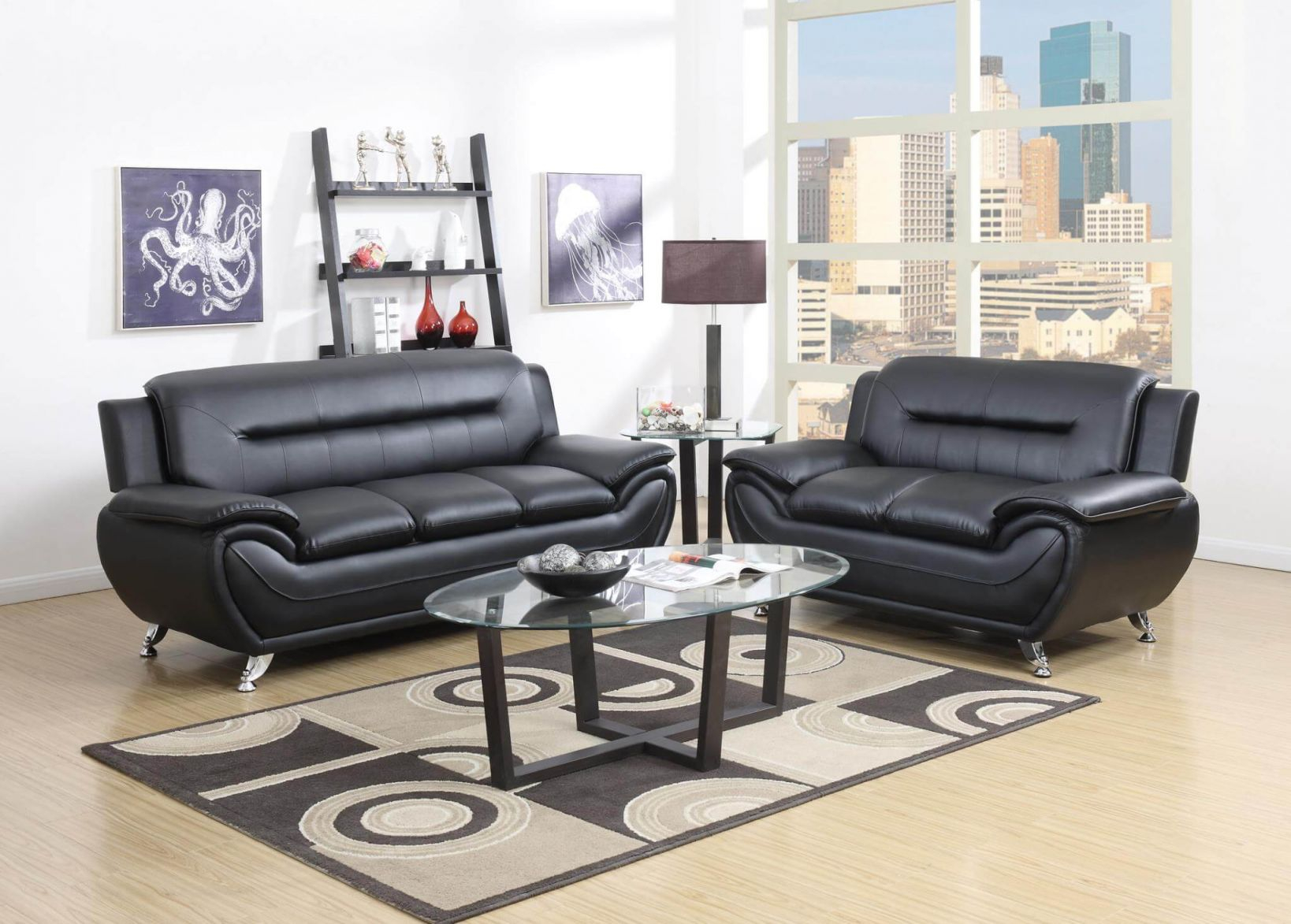 2701 Black Living Room Set for Leather Living Room Sets