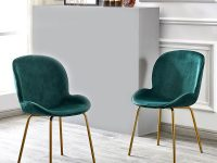 2X Velvet Fabric Dining Chairs Golden Finish Metal Legs Modern regarding Modern Living Room Chairs