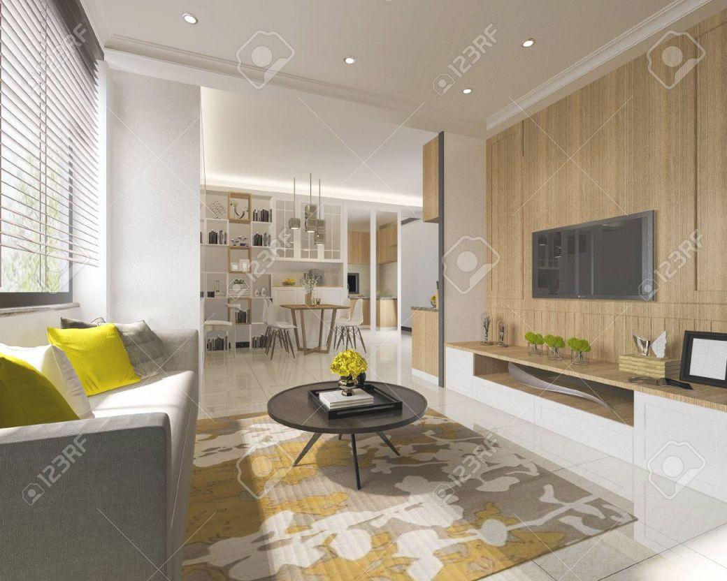 3D Rendering Minimal Yellow Modern Living Room With Wood Tv Wall regarding Lovely Modern Living Room Tv Wall