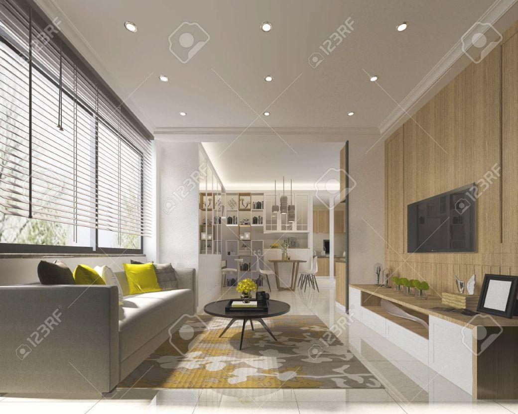 3D Rendering Minimal Yellow Modern Living Room With Wood Tv Wall with Modern Living Room Tv Wall