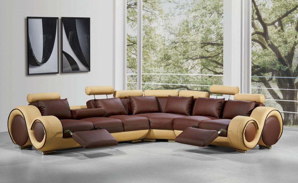 4087 Modern Leather Sectional Sofa With Recliners regarding Best of Leather Sectional Modern
