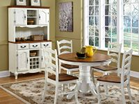 42-Inch-Round-French-Country-Style-Dining-Table-White-Paint-And-Brown-Wood-Stain