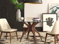 48-Inch-Round-Dining-Table-With-Glass-Top-And-Walnut-Wood-Legs