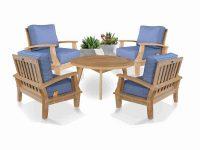 5 Pc Teak Deep Seating Conversation Set – Bali Chairs And Coffee Table regarding Beautiful Teak Outdoor Furniture Set