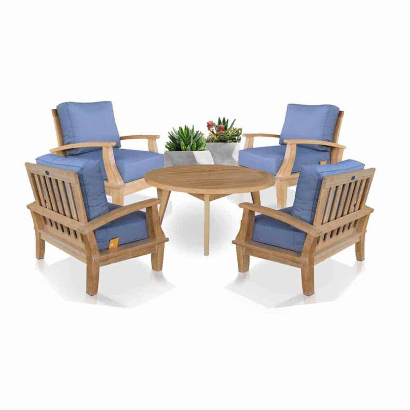 5 Pc Teak Deep Seating Conversation Set – Bali Chairs And Coffee Table regarding Beautiful Teak Outdoor Furniture Set