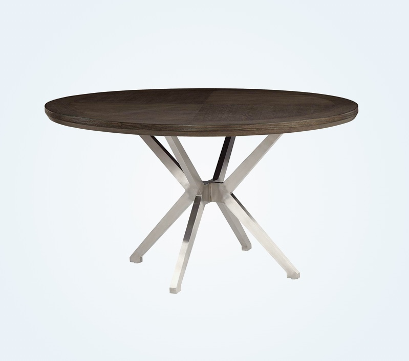54-Inch-Round-Grey-Dining-Table-With-Dark-Wood-Top-And-Stainless-Steel-Legs