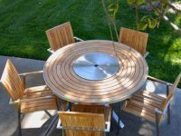 6 Pc Stainless Steel Teak Round Table Dining Set – Signature Table With Alzette Stacking Chairs with regard to Beautiful Teak Outdoor Furniture Set