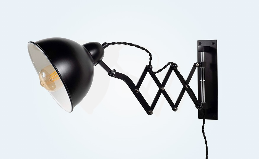 Accordion-Style-Wall-Lamp-Black-Metal-With-Vintage-Edison-Bulb