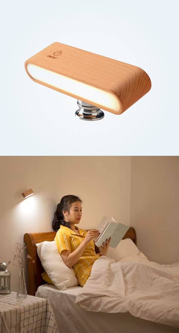 Adjustable-And-Rechargeable-Battery-Powered-Wall-Light-Wood-Finish
