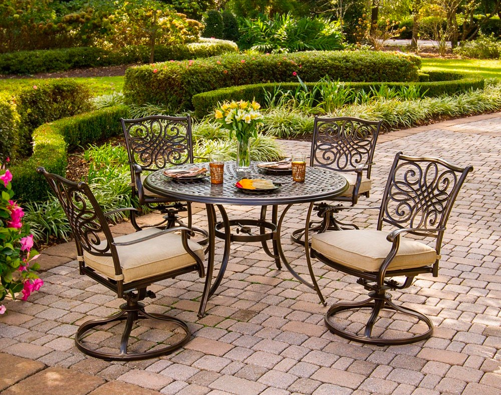 Antique-Style-Round-Outdoor-Dining-Table-Set-Metal-With-4-Swivel-Chairs-With-Cushions-Brown