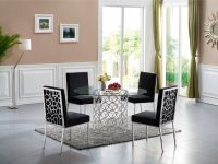 Art-Deco-Style-Round-Dining-Table-with-Silver-Base-And-Glass-Top
