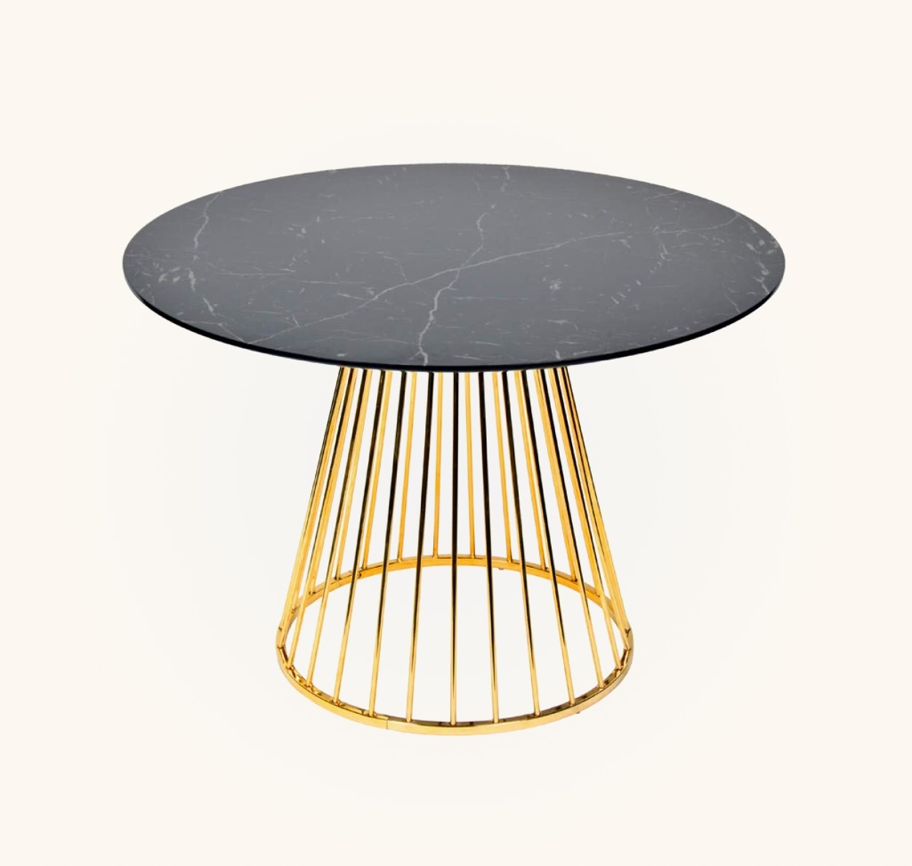 Black-Faux-Marble-Top-Dining-Table-And-Gold-Wide-Gap-Platner-Base-Pedestal