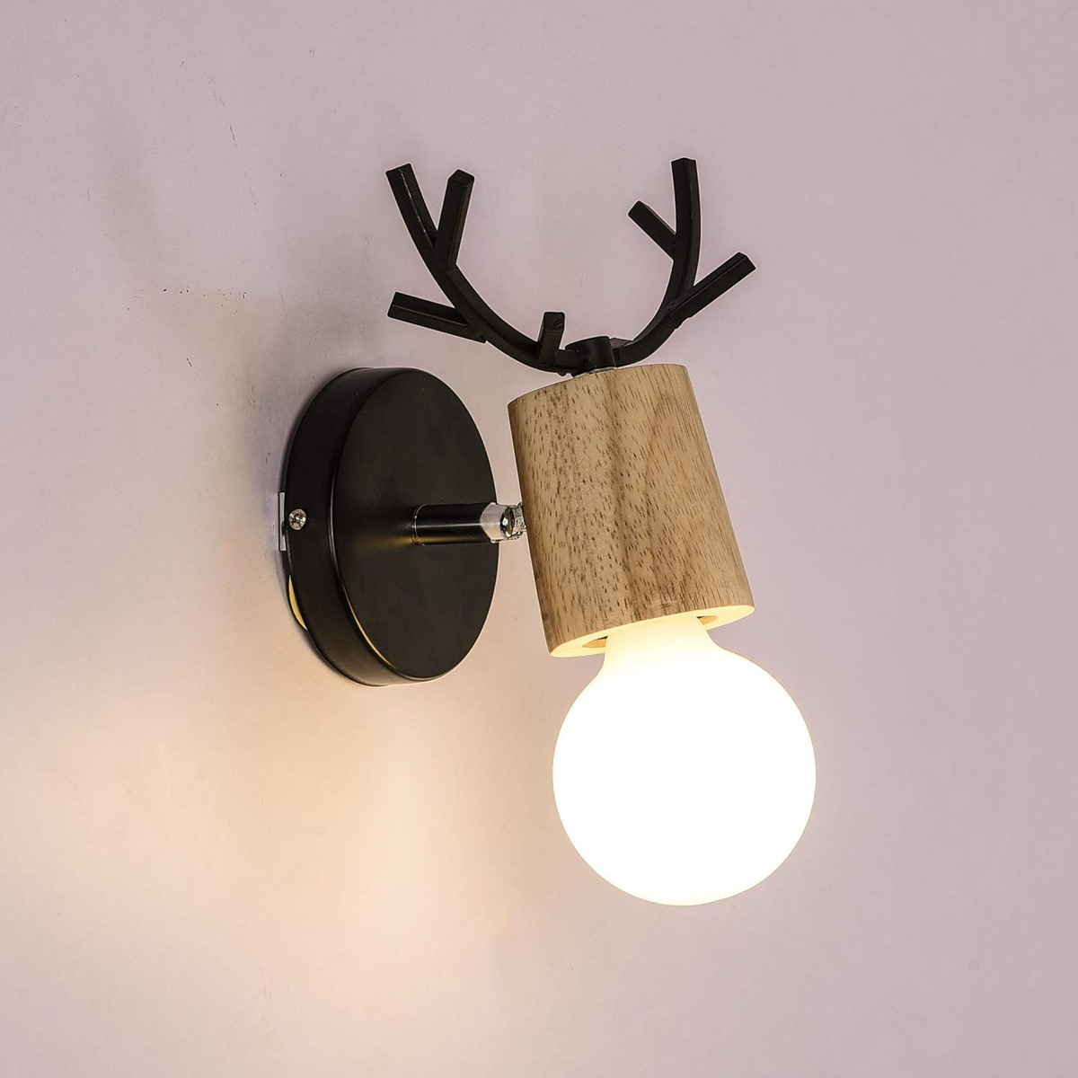 Cute-Wall-Light-With-Antlers-Wood-And-Metal-Scandinavian-Decor-Moose-Light